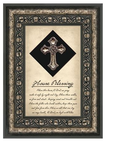 House Blessing Framed Silver Cross