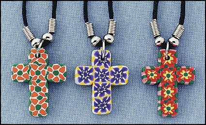 Clay Cross Necklace Asst - 12/pk