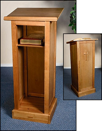 Full Lectern with Shelf - Pecan Stain