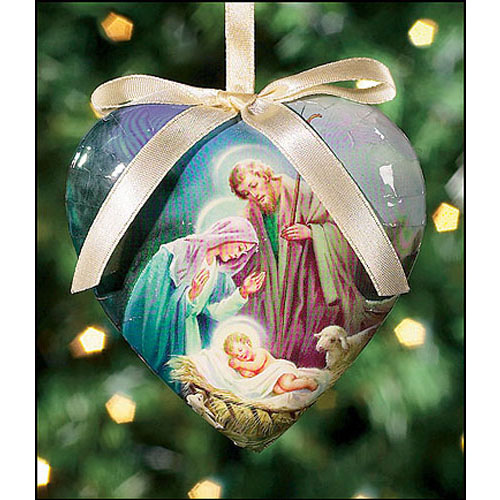 Sleep in Heavenly Peace Heart Shaped Decoupage Ornament