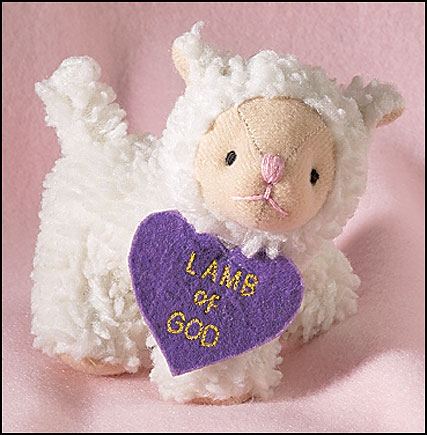 Plush Woolly Lamb with Lamb of God Heart - 12/pk