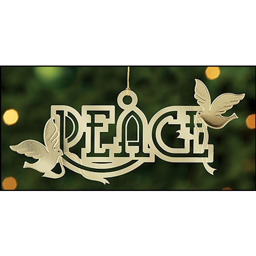 Peace with Doves Brass Ornament - 24/pk