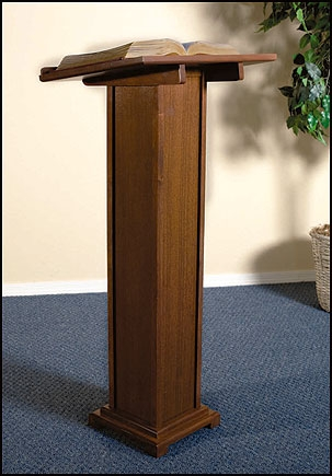 Square Base Lectern - Walnut Stain