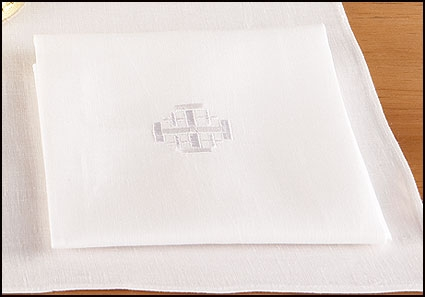 100% Linen Lavabo Towel with Jerusalem Cross - 4/pk