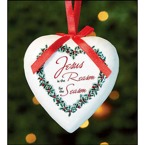 Jesus is the Reason for the Season Heart Shaped Ornament
