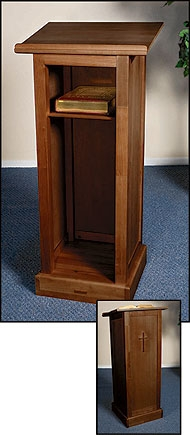 Full Lectern with Shelf - Walnut Stain