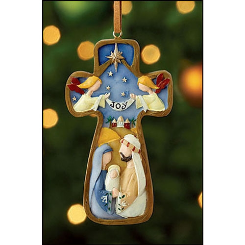 Joy Cross Nativity Ornament - 12/pk