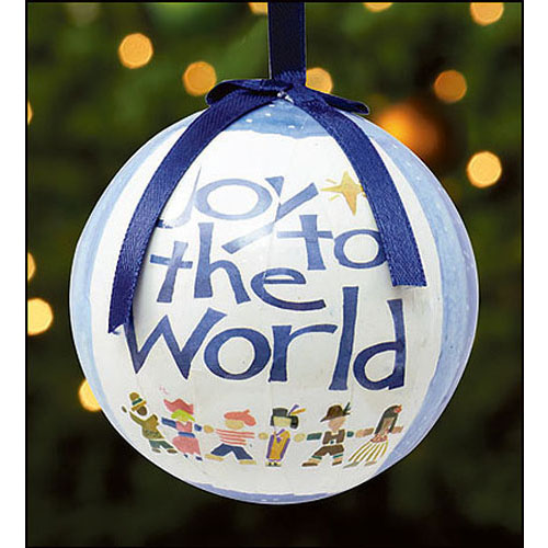 Joy to the World Decoupage Ornament