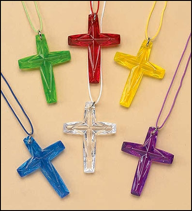 Crystal Cut Cross Pendant Assortment - 48/pk