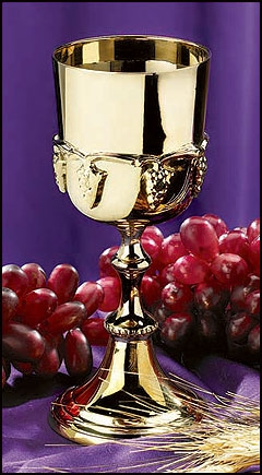 Gold Communion Cup with Grapes Design