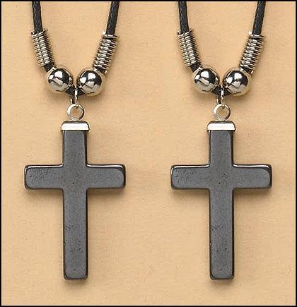 Hematite Cross Pendant - 24/pk