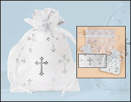 Medium Cross Organza Gift Bag - 36/pk