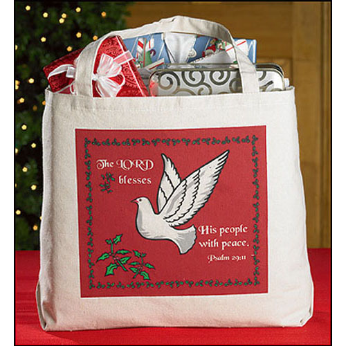 Large Christmas Dove Tote Bag