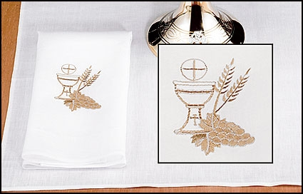 100% Linen Purificator with Chalice and Wheat - 4/pk