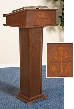 Silk-Screened Lectern with Shelf
