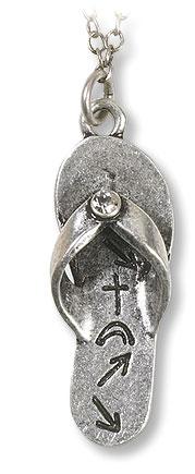Silver Witness Flip Flop Pendant - 4/pk