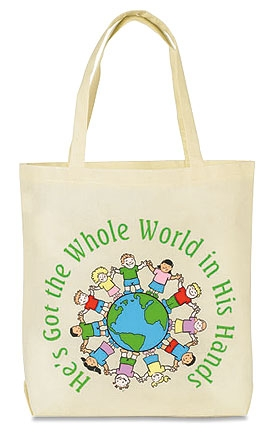 He's Got the Whole World Gusset Bottom Tote Bag - 12/pk