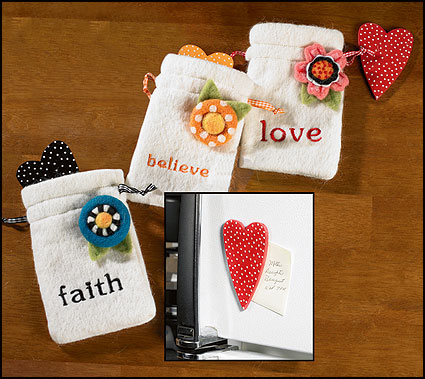 Faith, Believe, and Love Heart Magnet in Bag with Flower