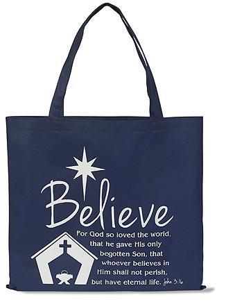 Believe Christmas Tote Bag - 12/pk