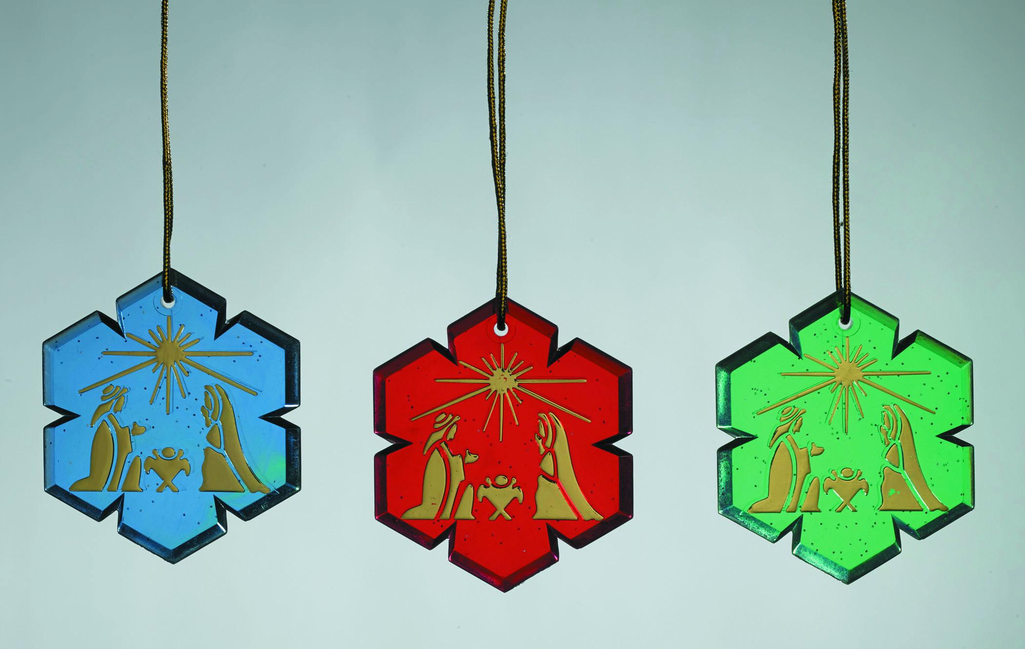 Nativity Glitter Snowflake Ornament