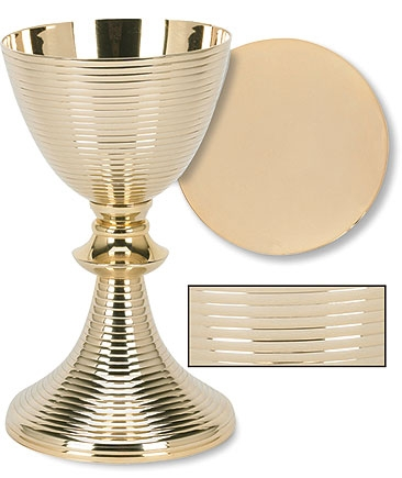 Gold Plated Ring Chalice with Paten