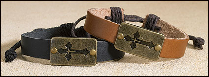 Leather Cross Bracelet Assortment - 12/pk