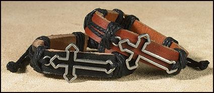 Cut Out Cross Leather Bracelet - 12/PK