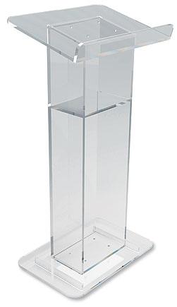 U-Shaped Acrylic Lectern with Shelf