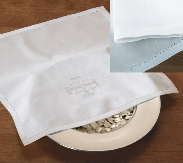 100% Linen Remembrance Bread Plate Napkin with Jerusalem Cross - 4/pk