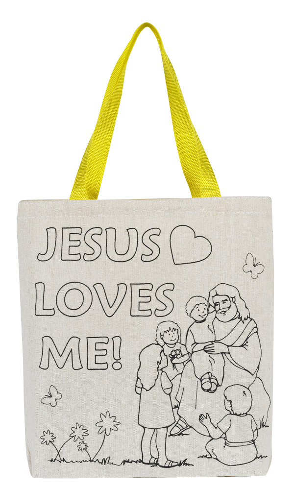 Color Your Own Tote Bag - Jesus Loves Me  - 12/pk