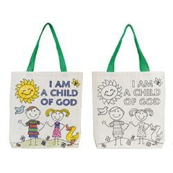 I am a Child of God Color Your Own Tote Bag - 12/pk