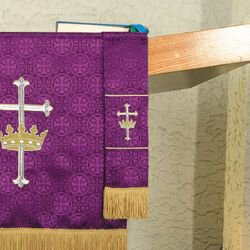 Maltese Jacquard Bookmark - Purple Cross with Crown