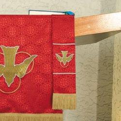 Maltese Jacquard Bookmark - Red Descending Dove