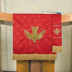 Maltese Jacquard Pulpit Scarf - Red Descending Dove