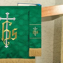 Maltese Jacquard Bookmark - Green IHS Cross