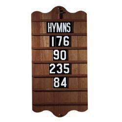 Wall Mount Hymn Board - Walnut Stain