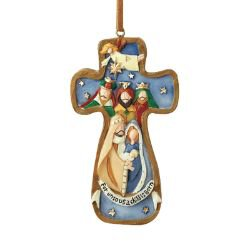 A Child is Born Cross Nativity Ornament - 12/pk