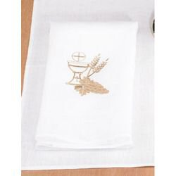 100% Linen Lavabo Towel with Chalice and Wheat - 4/pk