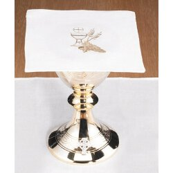 Poly/Cotton Blend Chalice Pall with Chalice and Wheat - 4/pk