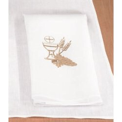 Poly/Cotton Blend Lavabo Towel with Chalice and Wheat - 4/pk