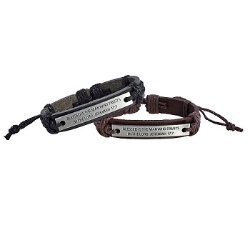 Blessed is the Man Leather Bracelets (2 Asst) - 12/pk
