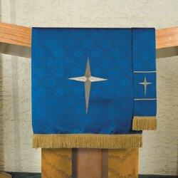 Maltese Jacquard Pulpit Scarf - Blue Bethlehem Star