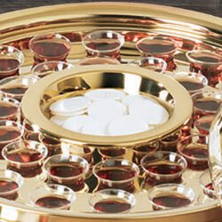 Brass Finish Communion Tray Center Bread Plate