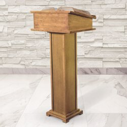 Lectern with Shelf - Pecan Stain