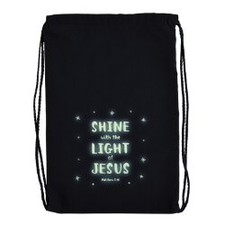 Shine with the Light of Jesus Glow-in-the-Dark Drawstring Backpack - 12/pk