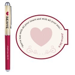 Serve with a Heart Like Jesus Gift Pen with Notepad - 12/pk