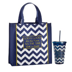 God is Good All the Time Blessing Tote and Tumbler Gift Set - 12 sets/pk