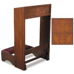 Silk-Screened Folding Padded Kneeler - Walnut Stain