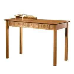 In Remembrance of Me Communion Table - Pecan Stain