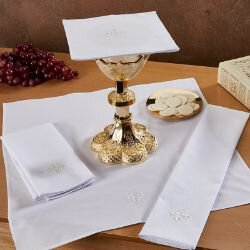 100% Linen White Fleur-de-Lis Cross Mass Linen Set